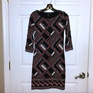 WHBM Red Black Geometric Print Sheath Dress